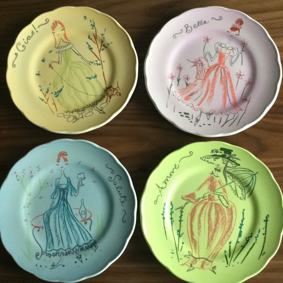 Anthropologie Other - Anthropologie Set of 4 Italian Lady Plates